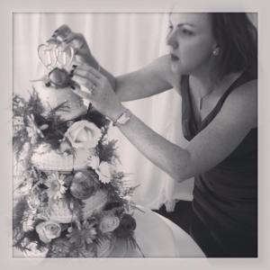 Busily adding the finishing touches to a wedding cake I made for some very good pals in Aug 2013